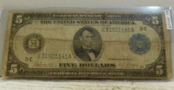1914 Large Size, $5 Fed Res Note, circ