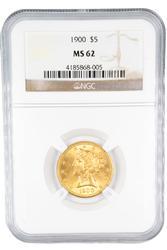 1900 MS 62 $5 Gold US Liberty
