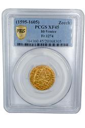 Italy Venice Gold  Zecchino 1595-1605 PCGS XF