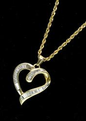 Fancy Diamond Heart Pendant and Chain in Gold