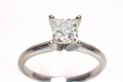 Princess Cut 0.96CT Diamond Solitaire Ring in 14KT