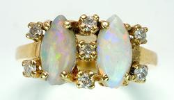 Unique Opal & Diamond Ring in 14KT