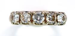 5 Stone 0.87CTW Diamond Ring in 14KT White Gold