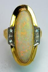 14KT Large Opal Ring with Diamond Accents