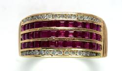 14KT Ruby & Diamond Band Ring