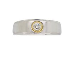Mens Two Tone Diamond Band