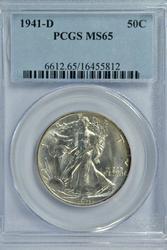 Gem BU 1941-D Walking Liberty Half Dollar. PCGS MS65