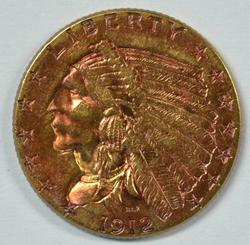 Nice original 1912 US $2.50 Indian Gold Piece