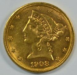 Great BU 1908 US $5 Liberty Gold Piece