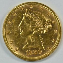 Very Choice BU 1880 US $5 Liberty Gold Piece