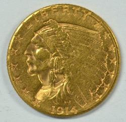 Better great-looking 1914-D US $2.50 Indian Gold Piece