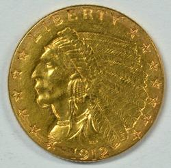 Top end 1912 US $2.50 Indian Gold Piece