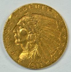 Near Mint 1911 US $2.50 Indian Gold Piece