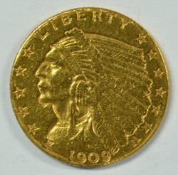 Real nice 1909 US $2.50 Indian Gold Piece