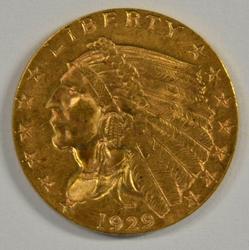 Great BU 1929 US $2.50 Indian Gold Piece. Fresh