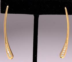 Elegant Long Diamond & 14KT Gold Drop Earrings