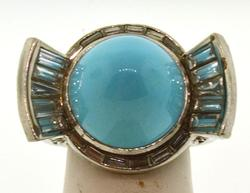 Fancy 18KT White Gold Turquoise Ring