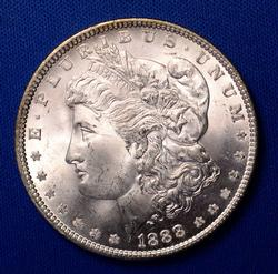 1888 Brilliant Unc Morgan Dollar