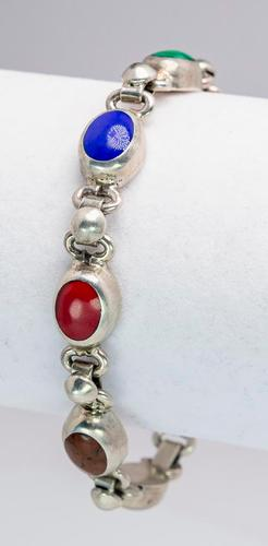 Multi Gemstone Sterling Silver Bracelet Usauctionbrokers Com