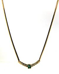 Pleasing Emerald and Diamond Yellow Gold Necklace