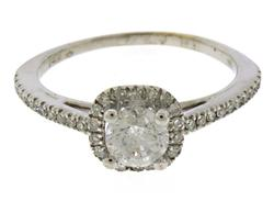 Shinning RBC Diamond Halo Engagement Ring
