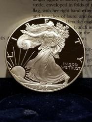 1996 Proof American Silver Eagle, OGP