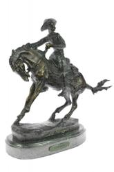 Cowboy and his Horse Bronze Sculpture on Marble Base