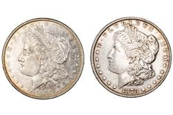 Two Types 1878 7 Tail Feather Morgan Dollars Rev 78 &79