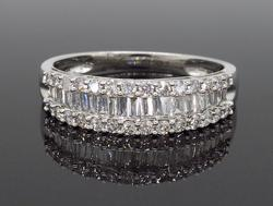 Mixed Cut Diamond Band in 18K White Gold