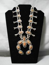 Vintage Navajo coral and silver squash blossom necklace