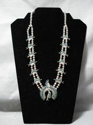 Vintage Zuni turquoise and silver squash blossom necklace