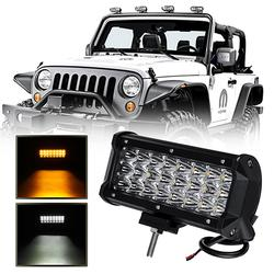 7in 72W LED Work Light Bar Dual Color Strobe Fog Lamp