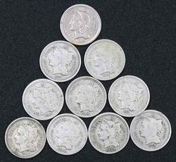 10 Assorted 3 Cent Nickels