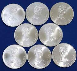 8 Assorted 1976 $5 Canada Unc Silver Olympic Coins