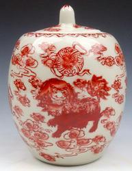 Ox Blood Red Foo Dog Lions Glazed Porcelain Lidded Jar