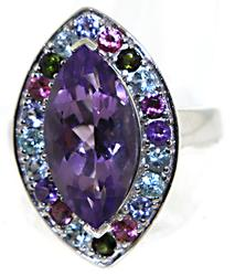 Sterling Silver Amethyst & Multi Gemstone Ring