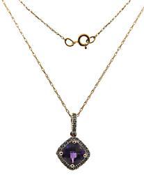 Fabulous Amethyst & Diamond Halo Rose Gold Necklace
