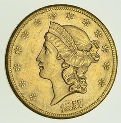 1857-S $20.00 Liberty Head Gold Double Eagle - Circulated