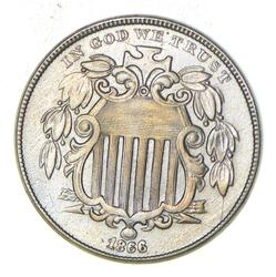1866 Shield Nickel - With Rays - Near Uncirculated