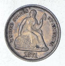 1871 Seated Liberty Half Dime - Choice