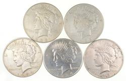 Lot (5) 1934-D & 1935 Peace Silver Dollars