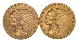Lot (2) 1914-D & 1927 $2.50 Indian Head Gold Quarter Eagles