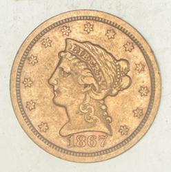 1867-S $2.50 Liberty Head Gold Quarter Eagle