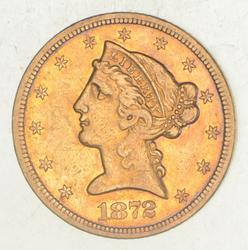 1872-S $5.00 Liberty Head Gold Half Eagle