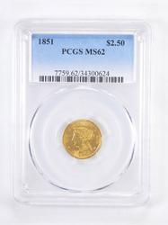 MS62 1851 $2.50 Liberty Head Gold Quarter Eagle - Graded PCGS