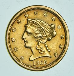 1866 $2.50 Liberty Head Gold Quarter Eagle