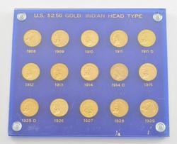 Lot (15) 1908-1929 $2.50 Indian Head Gold Quarter Eagles - Slabbed
