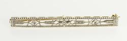 14K Yellow Gold Art Deco Two Tone Floral Filigree Bar Pin/Brooch