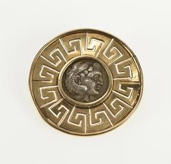 14K Yellow Gold Ornate Greek Coin Wave Key Pattern Trim Pin/Brooch