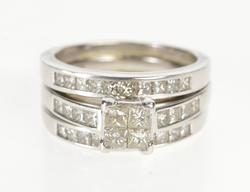 14K White Gold 2.00 Ctw Princess Diamond Bridal Engagement Ring